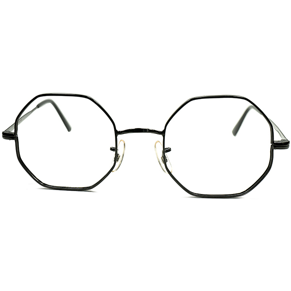 実験的MADルック最初期BLACKペイント 1950s- 60s フランス製 デッドストック FRAME FRANCE フレーム フランス ブラックラッカー OCTAGON オクタゴン ALL BLACK仕様 ビンテージヴィンテージ 眼鏡メガネ a6708