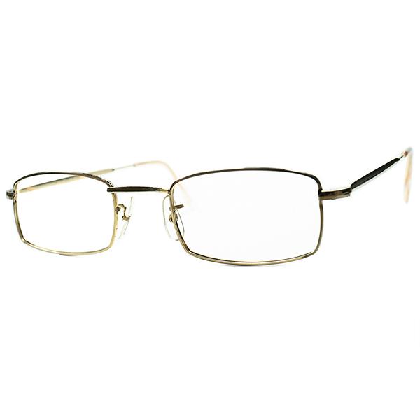 変わり種UK MID CENTURY 幾何学 初見RAREシェイプ 1950s-60s デッドストック MADE IN ENGLAND イギリス製 本金張りMETAL平行四辺形型スクエアsize46/22 ビンテージヴィンテージ 眼鏡メガネ a6717