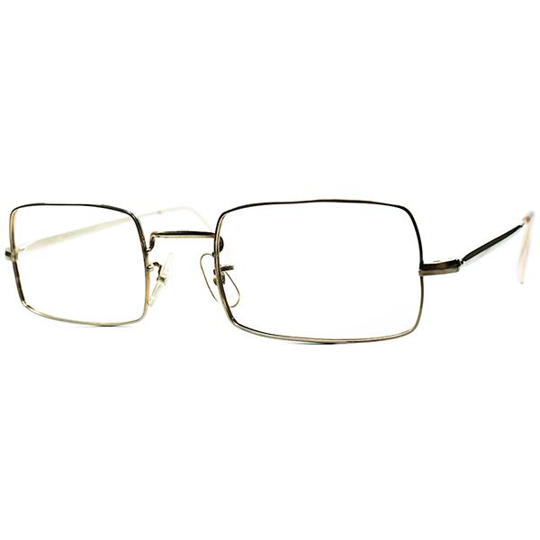 パーフェクト縦幅& 絶妙質感 1950s-60s デッドストック MADE IN ENGLAND イギリス製 本金張りMETAL 長方形RECTANGLE size48/20 ビンテージヴィンテージ 眼鏡メガネ a6719