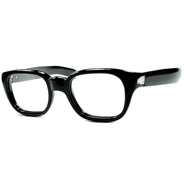 特許取得 異常クオリティx極上フィット1940s-50s ITALY製デッドストックDEADSTOCK 最大7mm厚FRONTx極太STRAIGHT TEMPLE曲智型SQUAREウェリントン黒 size46/20 ビンテージヴィンテージ 眼鏡メガネ a6742