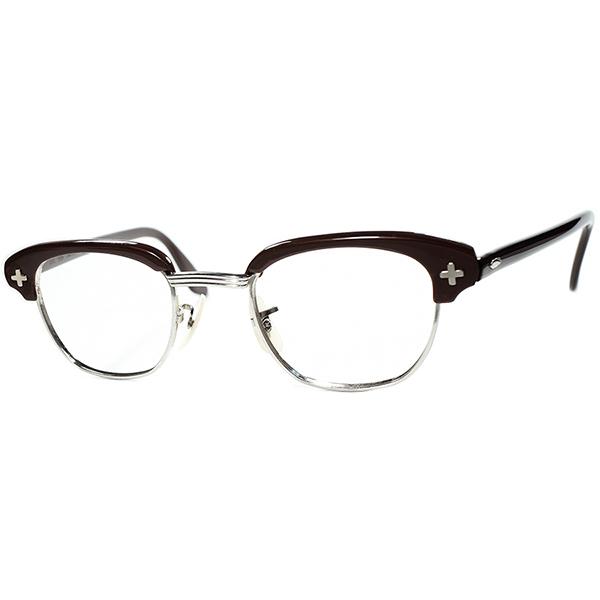 激渋初期オーラRAREモデルx幻級レアサイズ 1950s-60s デッドストックDEADSTOCK USA製 BAUSCH LOMB ボシュロム B&L 平打クロスブロータイプ CHOCOLATE BROWNxSILVER size44/22 ビンテージヴィンテージ 眼鏡メガネ a6784