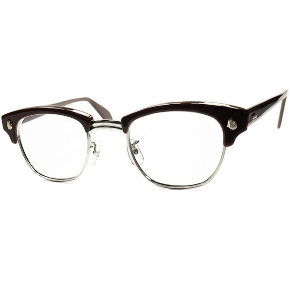 永久定番 デッド同等TOPランク 別格EXCELLENT個体 1950s-60s USA製 AMERICAN OPTICAL アメリカンオプティカル AOヒンジ ブロータイプCHOCOLATE size46/22 ビンテージヴィンテージ 眼鏡メガネ a6797