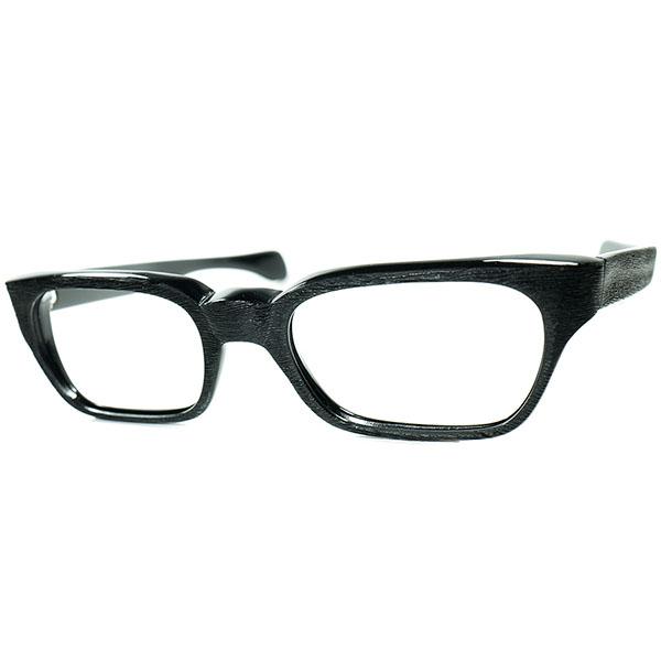 全黒ハイセンスCONTEMORARY STYLE1960sフランス製 デッドストックDEADSTOCK FRAME FRANCE Selecta CLASSICウェリントンWOOD調凹凸仕上げBLACK EBONY ビンテージ眼鏡メガネ size50/20 a6807