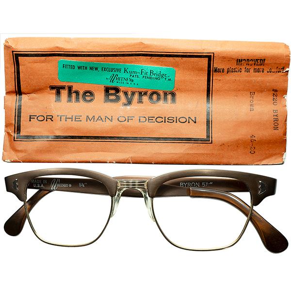渋色CLASSIC色 シガーブラウン 1960s デッドストックDEADSTOCK USA製 NY発マニアック所WHITNEY特許出願NOSEPAD搭載 アルミx1/10 12KGF本金張BLOW TYPE size46/20 ビンテージヴィンテージ 眼鏡メガネ a6817