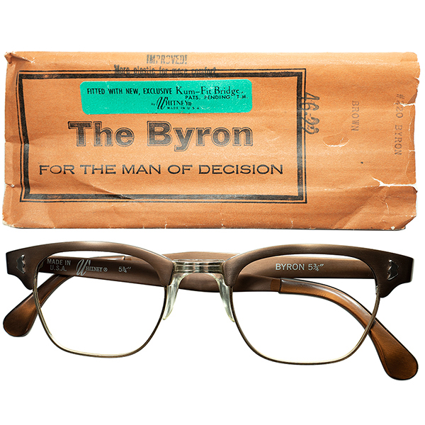 快適REALアメリカンCLASSIC 1960s デッドストックDEADSTOCK USA製NY発WHITNEY特許出願 NOSEPAD搭載 アルミx1/10 12KGF本金張 BLOW TYPE 46/22 CIGAR BROWN ビンテージヴィンテージ 眼鏡メガネ a6818