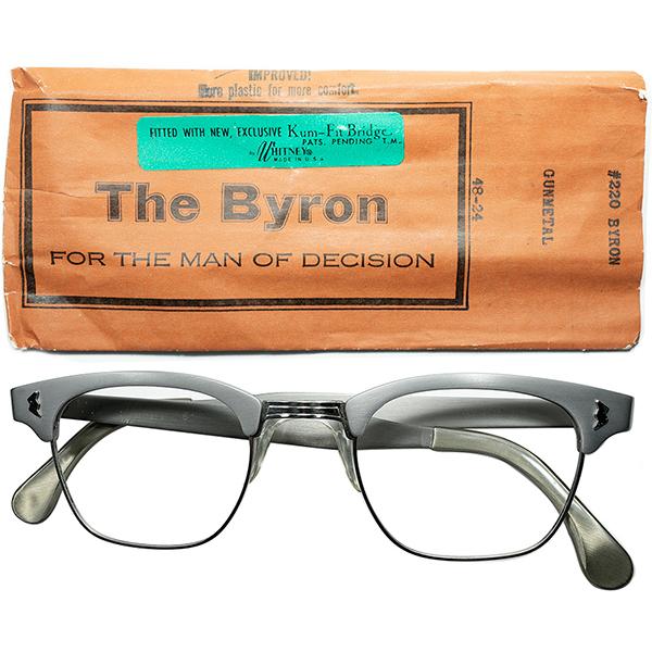 渋めONLY VINTAGE仕様 1960s デッドストックDEADSTOCK USA製 マニアック所 WHITNEY特許出願NOSEPAD搭載 アルミx1/10 12KGF 本金張ブロータイプ 48/24MATT SILVER ビンテージヴィンテージ 眼鏡メガネ a6819
