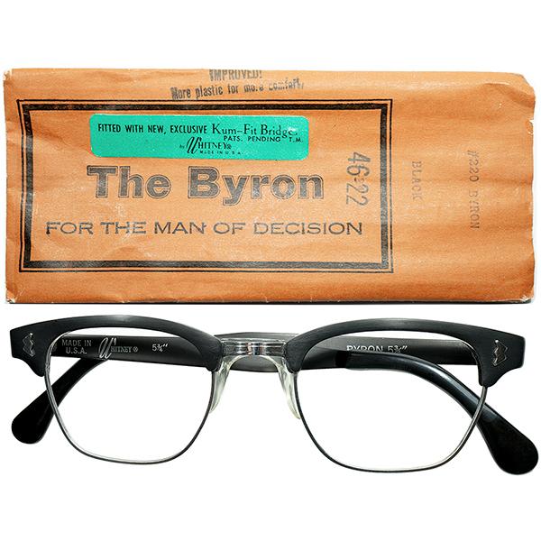超デイリー仕様 優秀黒ブロー 1960sデッドストックDEADSTOCK USA製マニアック所WHITNEY 特許出願NOSEPAD搭載 アルミx1/10 12KGF 本金張BLOW TYPE 46/22 MATT BLACK ビンテージヴィンテージ 眼鏡メガネ a6822