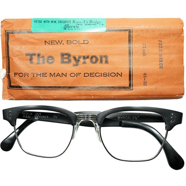 鉄板黒ブロー 優秀個体 1960s デッドストックDEADSTOCK USA製 マニアックメーカー WHITNEY 特許出願NOSEPAD搭載 アルミx1/10 12KGF本金張 BLOW TYPE 46/20 MATT BLACK ビンテージヴィンテージ 眼鏡メガネ a6823
