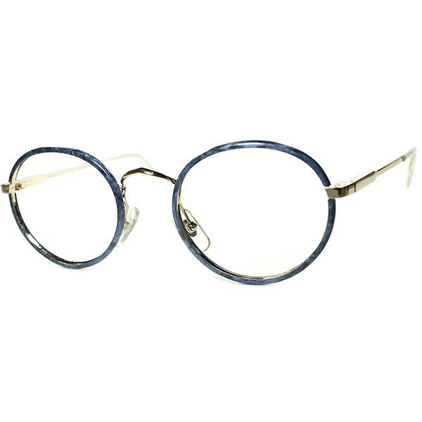 高評価 優秀トータルバランス 1980s フランス製 デッドストック FRAME FRANCE フレーム フランス ラフォン LAFONT ブルー大理石柄セル巻きMETAL PANTOラウンド 丸眼鏡 丸メガネ ビンテージヴィンテージ 眼鏡メガネ a6825
