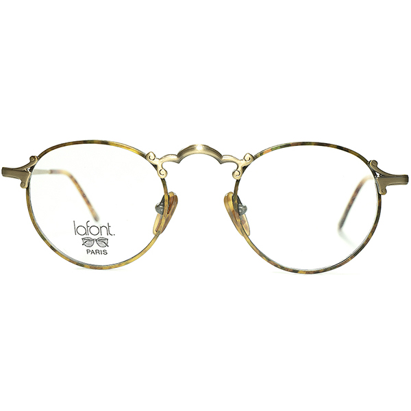 UNIQUEモダナイズドxPERFECTシルエット 1980s-90s フランス製 デッドストック FRAME FRANCE フレーム フランス ラフォンLAFONTセル巻き風 アールデコ調PANTO ラウンド 丸眼鏡 丸メガネ ビンテージヴィンテージ 眼鏡メガネ a6828