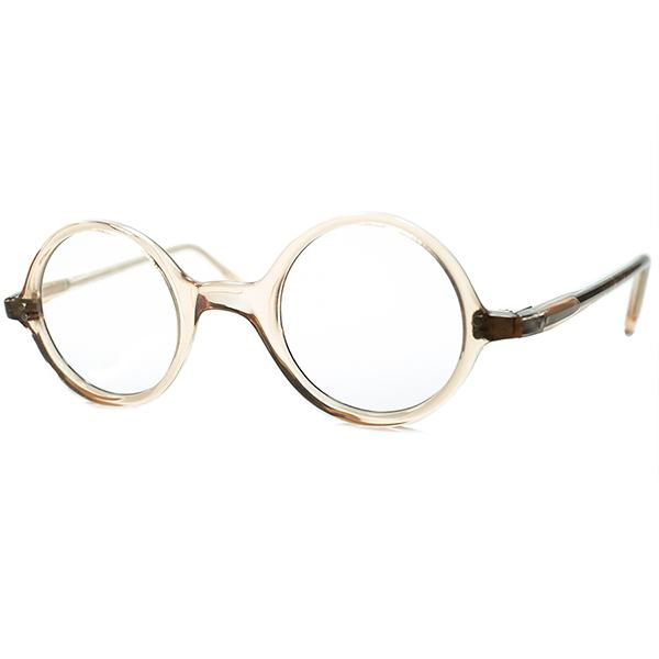 小顔向けスモールサイズ個体 1940s-50s フランス製 デッドストック 一山式 正円ラウンド 丸眼鏡 丸メガネ FLESH PINK ビンテージヴィンテージ 眼鏡メガネ a6836