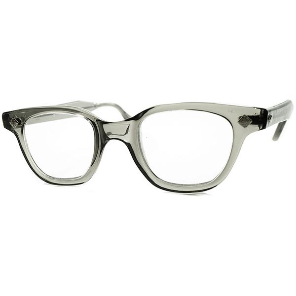 実用的AUTHENTICアメリカンINDUSTRIAL 1960s デッドストックDEADSTOCK USA製 マニアックメーカーBOUTON ウェリントン SAFETY GRAY ダイヤヒンジ ビンテージヴィンテージ 眼鏡メガネ size44/22 a6837