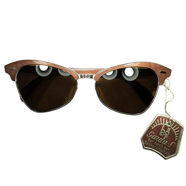 UNIQUEアーカイブ稀少デザインTAG付 デッドストック 1950s西ドイツ製 変形SEMI CATEYEブロー金張りGOLDx CHESTNUT size50/16 当時物ガラスLENS ビンテージヴィンテージ 眼鏡メガネ a6853