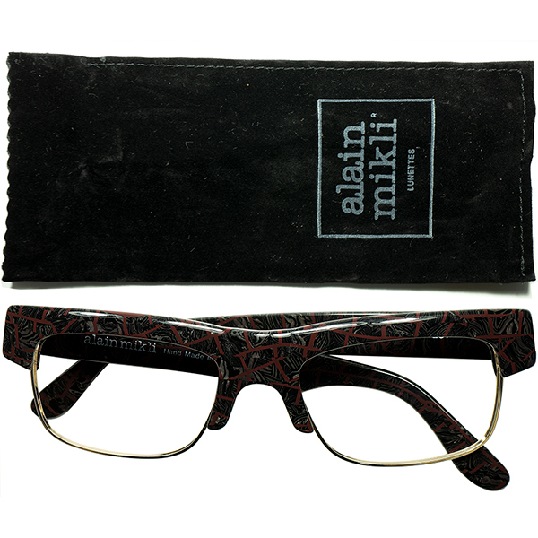 秀逸バランス実用的鋭角DESIGN 1980s フランス製 デッドストック 初期作品アランミクリalain mikliブリティッシュSTYLEブロータイプ クロコ調ART MIX ビンテージヴィンテージ 眼鏡メガネ a6854