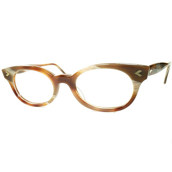 絢爛華麗BEAUTIFUL生地使い1980sデッドストック ENGLAND製アングロ・アメリカン ANGLO AMERICAN EYEWEAR ウェリントン PANTO ホーン柄アンバー ビンテージヴィンテージ 眼鏡メガネ a6855
