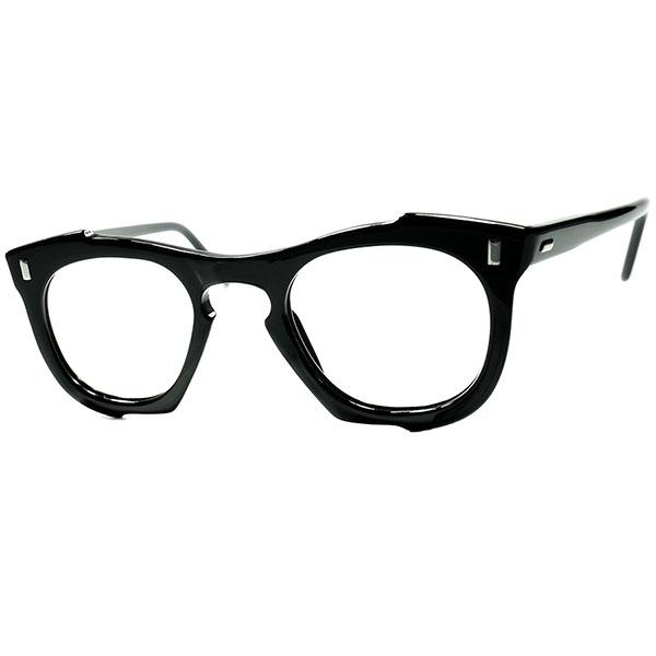 フレンチ希少カラーBLACK 実験的CRAZYシェイプ 1950s フランス製 デッドストックDEADSTOCK FRAME FRANCE フレーム フランス 歪形状凹凸多角KEY HOLE PANTO 黒コンパクトサイズ個体 ビンテージヴィンテージ 眼鏡メガネ a6856