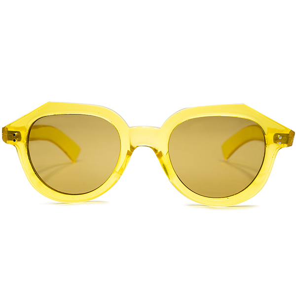 快適ストレスフリーOLD PIECE 1940s フランス製 デッドストックDEADSTOCK FRAME FRANCE フレーム フランス 芯なしWIDE TEMPLE 変形 クラウンパント CROWN PANTOフラットガラスLENS パイナップル ビンテージヴィンテージ 眼鏡メガネ a6863