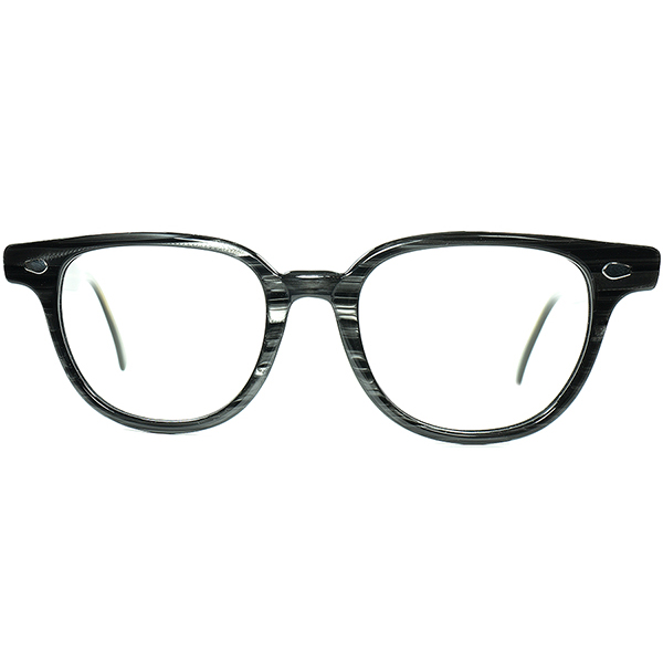 FIFTIESアメリカン象徴HORN-RIMSデザイン 1950s USA製 LIBERTY アーネルSTYLEクラシックホーンリム BLACKWOOD size46/20 ビンテージヴィンテージ 眼鏡メガネ a6869