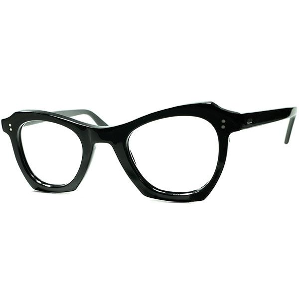 全盛期B&Lボシュロムテイスト希少BLACK上級GOOD SIZE個体 1950s デッドストックDEADSTOCK FRAME FRANCE フレーム フランス フランス製 角残しCUTTING変形 PANTO 実寸42/24 ビンテージヴィンテージ 眼鏡メガネ a6891
