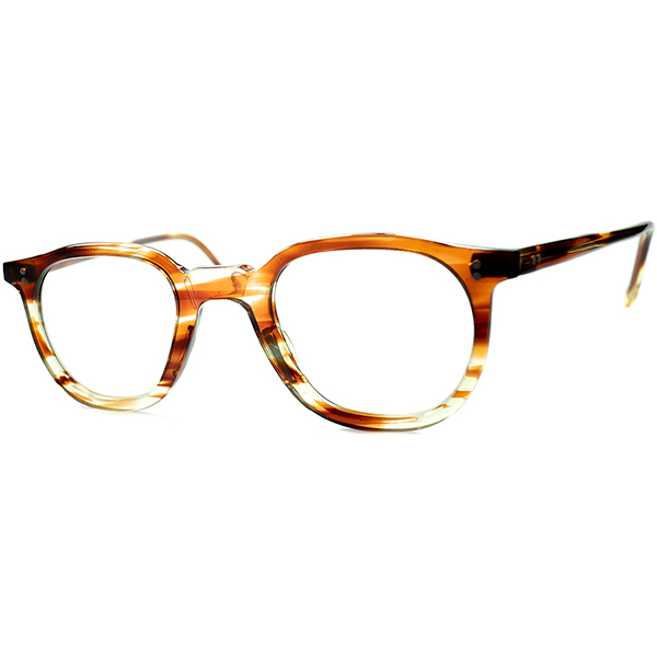 上質顔馴染み 渋めフレンチクラシックGOOD SIZE個体1950sフランス製 デッドストックDEADSTOCK FRAME FRANCE フレーム フランス ミルフィーユ調クリア系鼈甲柄ナローPANTO実寸42/24 ビンテージヴィンテージ 眼鏡メガネ a6893