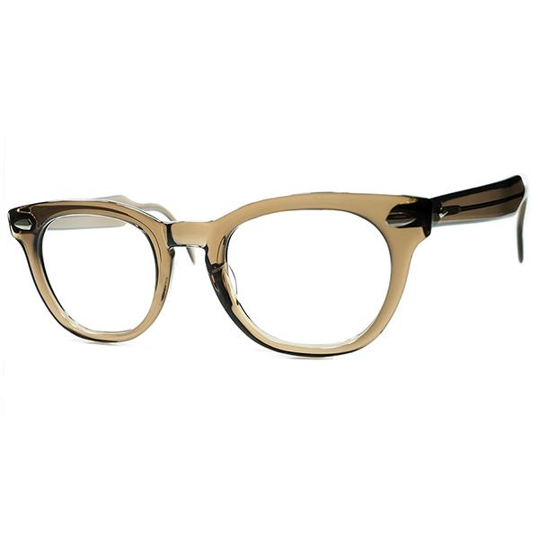 条件揃い踏み デッド同等TOPランク個体1960s AOアメリカンオプティカル ARNEL アーネル系 KEYHOLEウェリントン BROWN CRYSTAL size46/22 ビンテージヴィンテージ 眼鏡メガネ a6896