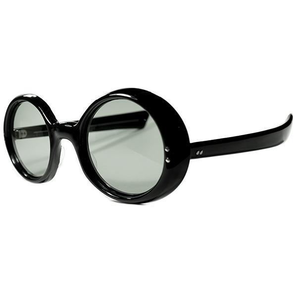 圧巻迫力 TOPクオリティ1950s-60s FRAME FRANCE フレーム フランス フランス製 デッドストック GOO GOO系 枠ずらし極太7mm厚 BLACKラウンド 丸眼鏡 丸メガネ 極太ストレートテンプル ビンテージヴィンテージ 眼鏡メガネ a6914