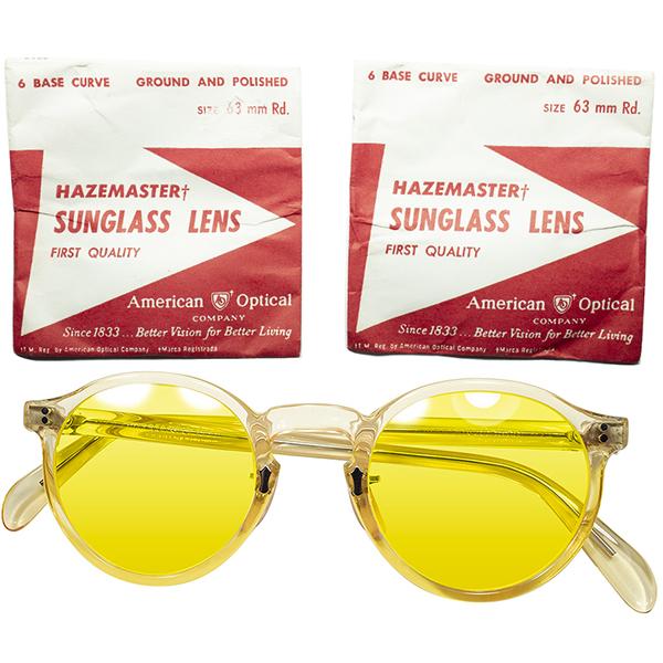 ALL AOスペシャルCUSTOM個体 AFTER WW2 1940s-50s アメリカンオプティカル AMERICAN OPTICAL P3キーホールFUL-VUEラウンド FLESH PINK size44/22 NOSE PAD仕様 ビンテージヴィンテージ 眼鏡メガネ a6915