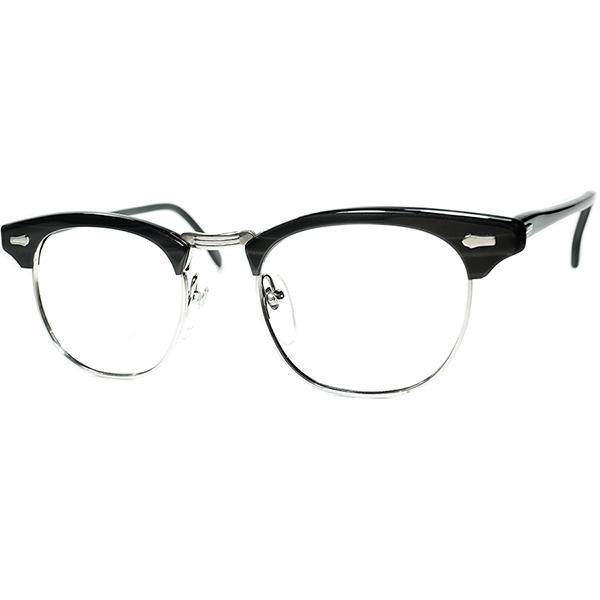 当時人気 実力派USブロータイプ後継型 1960s-70s デッドストック USA製 SRO STYL RITE OPTICS DOBBS2 BLACKWOOD size48/20 ビンテージヴィンテージ 眼鏡メガネ a6920