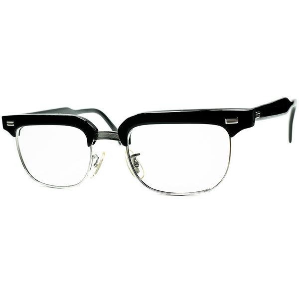 激渋CLASSIC 激レアモデル 1960s USA製 AMERICAN OPTICALアメリカンオプティカル AO CAMELOT 黒1/10 12KGF本金張ブロータイプ ビンテージヴィンテージ 眼鏡メガネ size46/20 a6926
