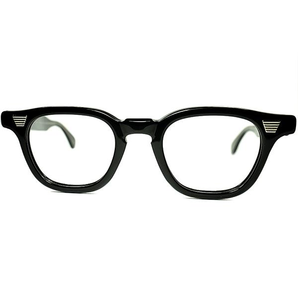 GEEK&マニアック秀逸REAL FIFTIES 1950s デッドストックUSA製 GRACELINE アーネル型 KEYHOLE ARNEL STYLE ホーンリム 黒 size42/22 ビンテージヴィンテージ 眼鏡メガネ a6927
