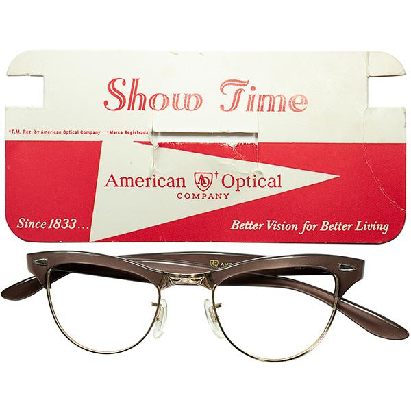 ART DECO調 ELEGANTxCLASSIC 最高位 デッドストックDEADSTOCK 1960s AO アメリカンオプティカル AMERICAN OPTICAL SHOWTIME セミキャットアイ ブロータイプ1/10 12KGF本金張44/20 ヴィンテージ眼鏡メガネ a6928
