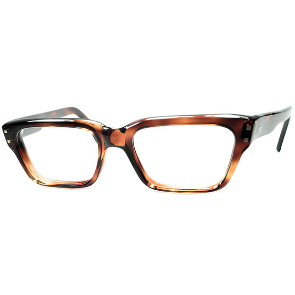 ハイレベルFRENCH Mid Centuryデザイン 1960s フランス製 デッドストックDEADSTOCK FRAME FRANCE フレーム フランス 最大厚8mm極太フロントSQUAREウェリントンDEMI AMBER size48/19 ビンテージヴィンテージ 眼鏡メガネ a6938