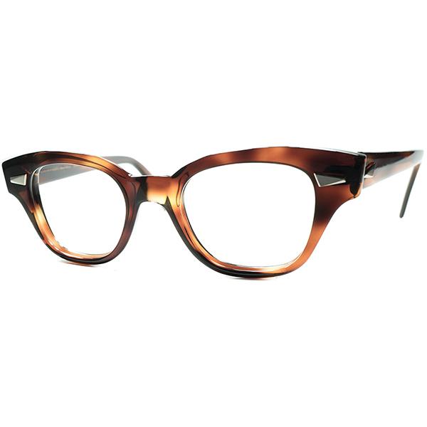 待望初入荷 B&L プレステージモデル鬼レア色 デッド同等個体1950s-60s BAUSCH&LOMB ボシュロム x肉厚凹凸立体構造ウェリントンAMBER size46/21 ビンテージヴィンテージ 眼鏡メガネ a6968