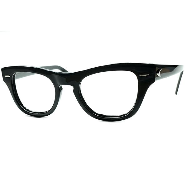 当時US大統領御用達 B&Lハイクラスモデル 1950s USA製 BAUSCH&LOMB ボシュロム PRE-WAYFARER キーホールウェリントン size44/20 黒 ビンテージヴィンテージ 眼鏡メガネa6972