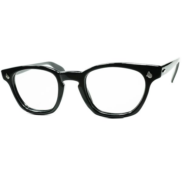 ICONIC名作 デッド級TOPランク特級個体1950s-60s USA製 アメリカンオプティカル AMERICAN OPTICAL AOヒンジKEY HOLEウェリントン黒 size46/22 ビンテージヴィンテージ 眼鏡メガネ a6981