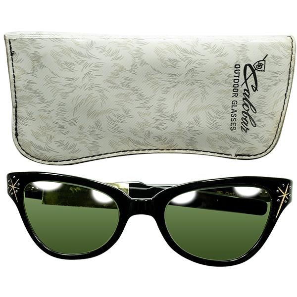 UNISEX アングラRUDE TASTE 1960s USA製CASE付デッドストック AO アメリカンオプティカル AMERICAN OPTICAL FOX型 WRAPウェリントン サングラス 黒 ビンテージヴィンテージ 眼鏡メガネ a6985