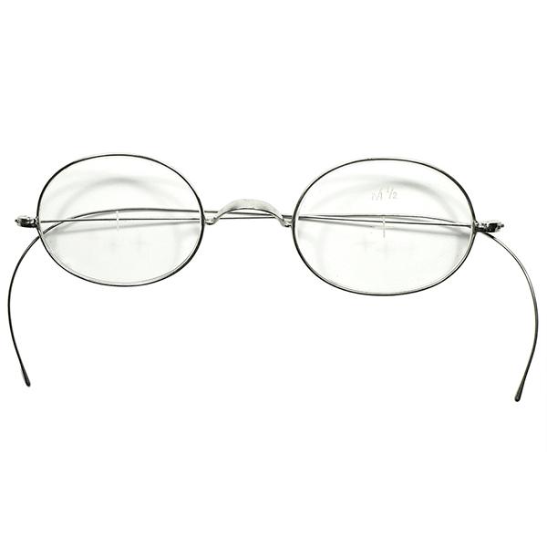 日常使い向け 実用的アンティーク GOODSIZE デッドストック1910s-20s USA製 一山式ブリッジ 極細リム OVALラウンドSILVER METAL 丸眼鏡 丸メガネ 実寸40/21 ビンテージヴィンテージ 眼鏡メガネ a7027