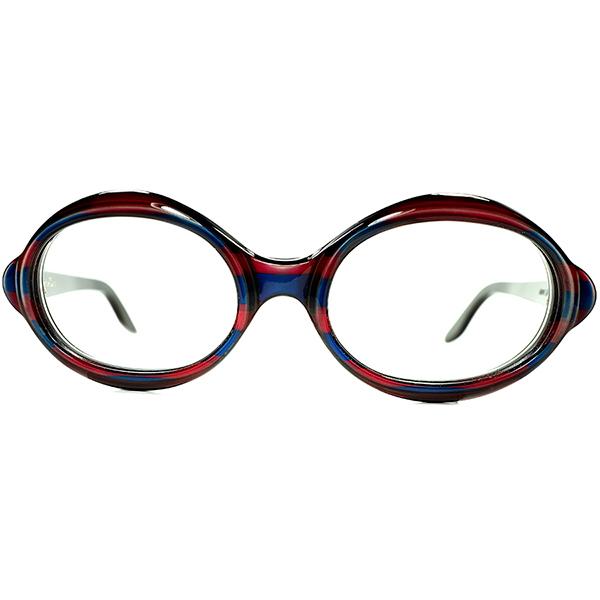 視覚的快楽ARTピース 1960s ITALY製デッドストック初期 CHRISTIAN DIOR クリスチャン ディオール 最大8mm厚 TRICOLOR 変形OVALラウンド size50/20 ビンテージヴィンテージ 眼鏡メガネ a7031