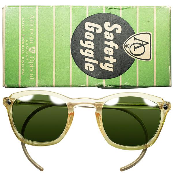 激渋無骨LOOK 初期希少型 デッドストック 1940s-50s USA製 アメリカンオプティカル AMERICAN OPTICAL AOヒンジ KEY HOLE ウェリントン最大サイズ48/26 OLDガラスLENS ビンテージヴィンテージ 眼鏡メガネ a7040