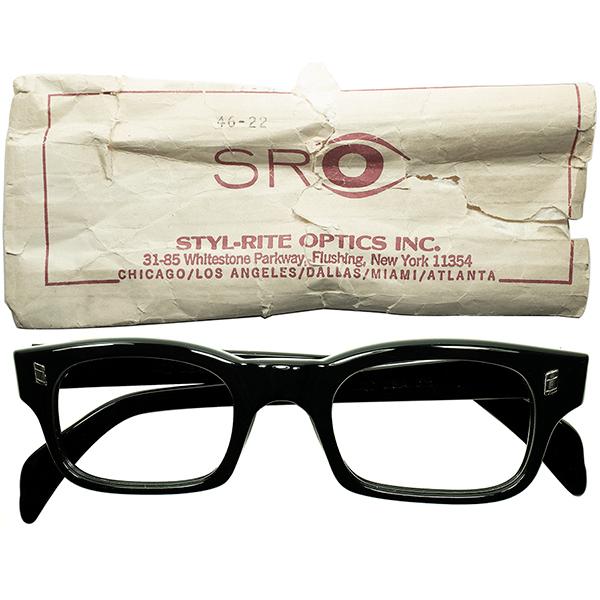 超デイリー向け 正統派AUTHENTIC ウェリントン1950s-60s USA製 デッドストック NY老舗 SRO スタイルライト MAGNATE 黒 size46/22 ビンテージヴィンテージ 眼鏡メガネ a7051