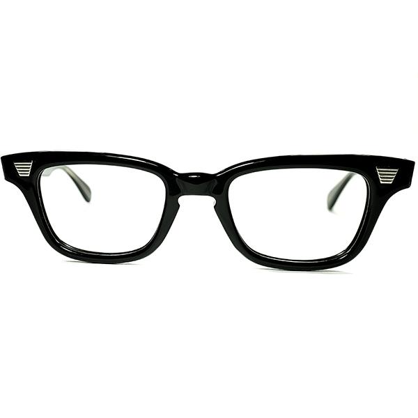 REAL FIFTIES 超マニアックRAREシェイプ 1950s デッドストック USA製 GRACELINE ホーンリム KEYHOLE ウェリントン 黒 size42/22 ビンテージヴィンテージ 眼鏡メガネ a7054