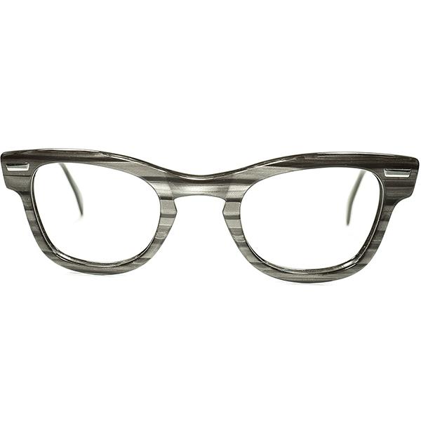 OLD STYLE激渋ウェリントンRAREモデル1950s USA製デッドストック SHURON シュロン RONDEAN size46/24 CHARCOALWOOD ビンテージヴィンテージ眼鏡メガネ a7066