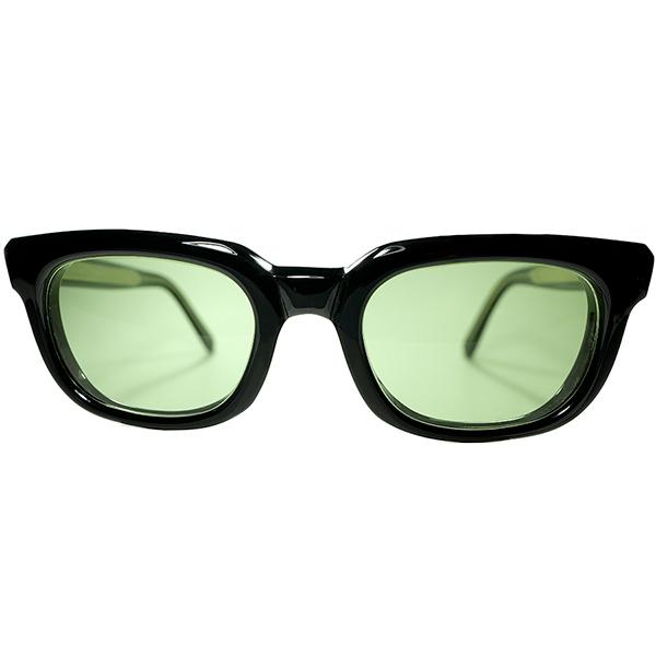 究極SOLIDスパルタンDESIGN デッド同等TOPランク1960s AO アメリカンオプティカル AMERICAN OPTICAL 肉厚&艶黒ウェリントン #2ガラスLENS ビンテージヴィンテージ 眼鏡メガネ a7090