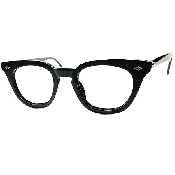 久々入荷ICONIC人気DESIGN デッド同等TOPランク個体 1960s B&L ボシュロム BAUSCH&LOMB クロスダイヤ黒 KEYHOLEウェリントンビンテージヴィンテージ 眼鏡メガネ size46/22 a7095
