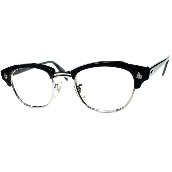 デッド同等TOPランク極上個体 ICONIC超人気モデル1950s-60s USA製 AMERICAN OPTICAL アメリカンオプティカル AOヒンジブロータイプ48/22黒 ビンテージヴィンテージ 眼鏡メガネ a7106