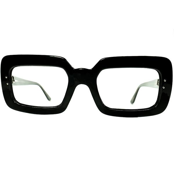 鋭角オールドCLASSICモードDESIGN 1960s フランス製 デッドストック FRAME FRANCE フレームフランス アバンギャルド幅広リムBLACK SQUAREフレーム ビンテージヴィンテージ 眼鏡メガネ a7115