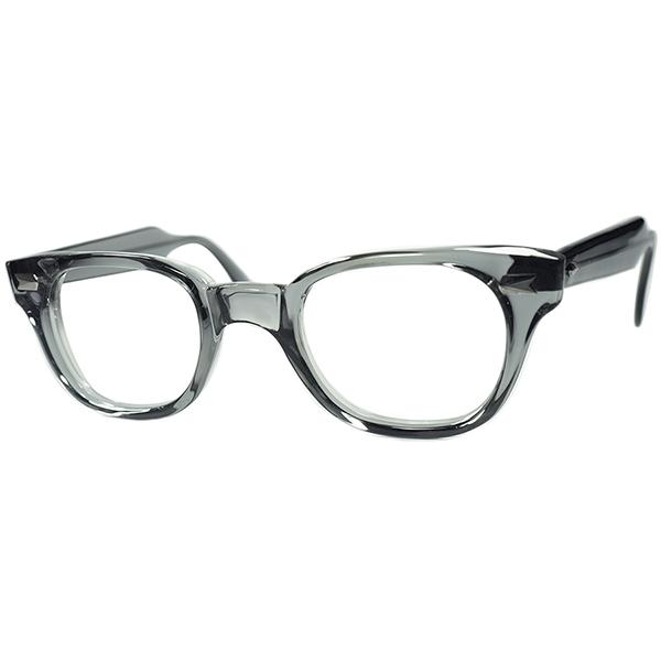 AOプレステージ 最高峰デッド級MINT個体1960s AMERICAN OPTICAL アメリカンオプティカル JAGUAR 肉厚ウェリントン size44/23 GRAY CRYSTAL ビンテージヴィンテージ 眼鏡メガネ a7121
