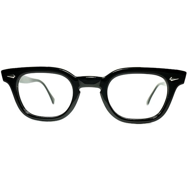 ALL純正デッド同等TOPランクS級個体1960s USA製 AO アメリカンオプティカル AMERICAN OPTICAL アーネル ARNEL系 ウェリントン 黒 size44/24 ビンテージヴィンテージ 眼鏡メガネ a7178
