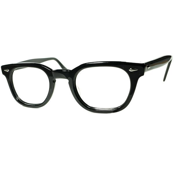 正真正銘USメイド 純正AO製パーツ極上個体 1960s アメリカンオプティカル AMERICAN OPTICAL アーネル ARNEL系 ウェリントン黒 size46 24 ビンテージヴィンテージ 眼鏡メガネ a7179