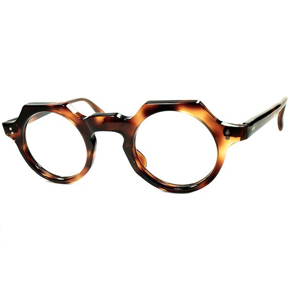 クラウンパント系譜オールド斬新デザインGOODSIZE個体1950s フランス製 デッドストック FRAME FRANCE フレームフランス クラウンラウンドDEMI AMBER ビンテージヴィンテージ 眼鏡メガネ a7201